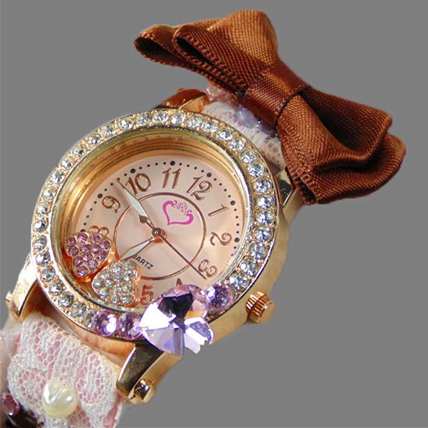 Korean Relogio Feminino Rhinestone Love Heart Lady Watch Fashion New Flower Bow Reloj Women Dress Casual Lace Quartz Watch Mujer(China (Mainland))
