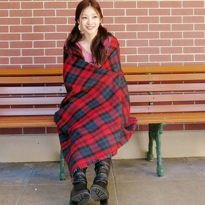 185cm New Chic Women Shawl 2015 Winter Checked Plaid Scarf Grids Large font b Tartan b