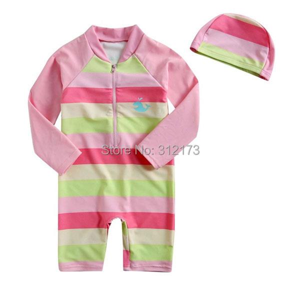 Vivo-biniya Kid Swimsuit 2015 New Boy/Girls One-Piece Swimwear Stripe Long Sleeves Clothing+Hats Bathing Suit - lianliannishang store