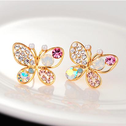 18 кг покрытием 2014 новый корейский роскошный полые блестящие красочные cystal сымитированная перла 18KGP бабочка серьги E3266