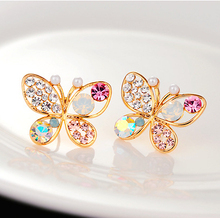 18KG Plated 2014 New Korean Luxury Hollow Shiny Colorful cystal Simulated Pearl 18KGP Butterfly Stud Earrings E3266(China (Mainland))