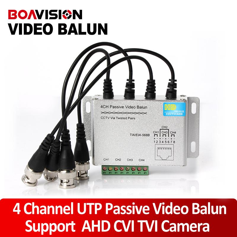 UTP 4Ch Passive Video Balun 4 Channel CAT5 CCTV BNC Video Balun Support 1080P/720P AHD,HDCVI,HDTVI Camera(China (Mainland))