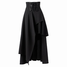 Free Shipping Tea-length Patched Black Cotton Gothic Lolita Punk Long Skirt Women Plus Size S ~ XXL High Waist Bandage Skirt