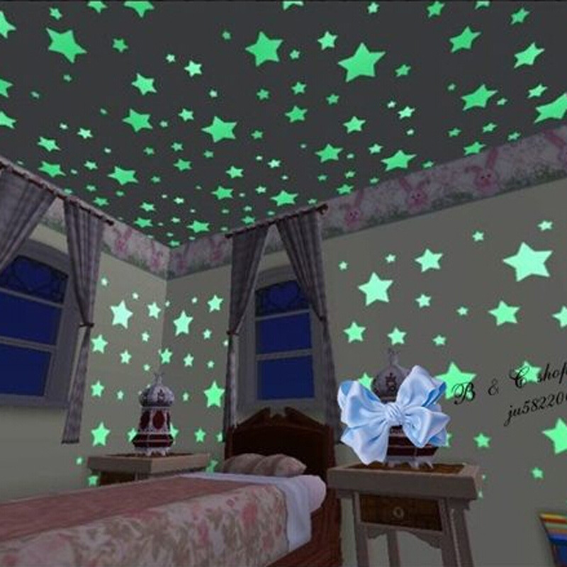 100PCS Home Fluorescent Glow In The Dark Stars Wall Stickers 3D Decal Wallpaper for Kids Baby
