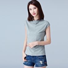Buy T Shirt Femme 2017 Summer Turtleneck Cotton Sleeveless Tank Tee Shirt Women T-Shirt White Womens Tops Slim Casual Camiseta Mujer for $7.69 in AliExpress store