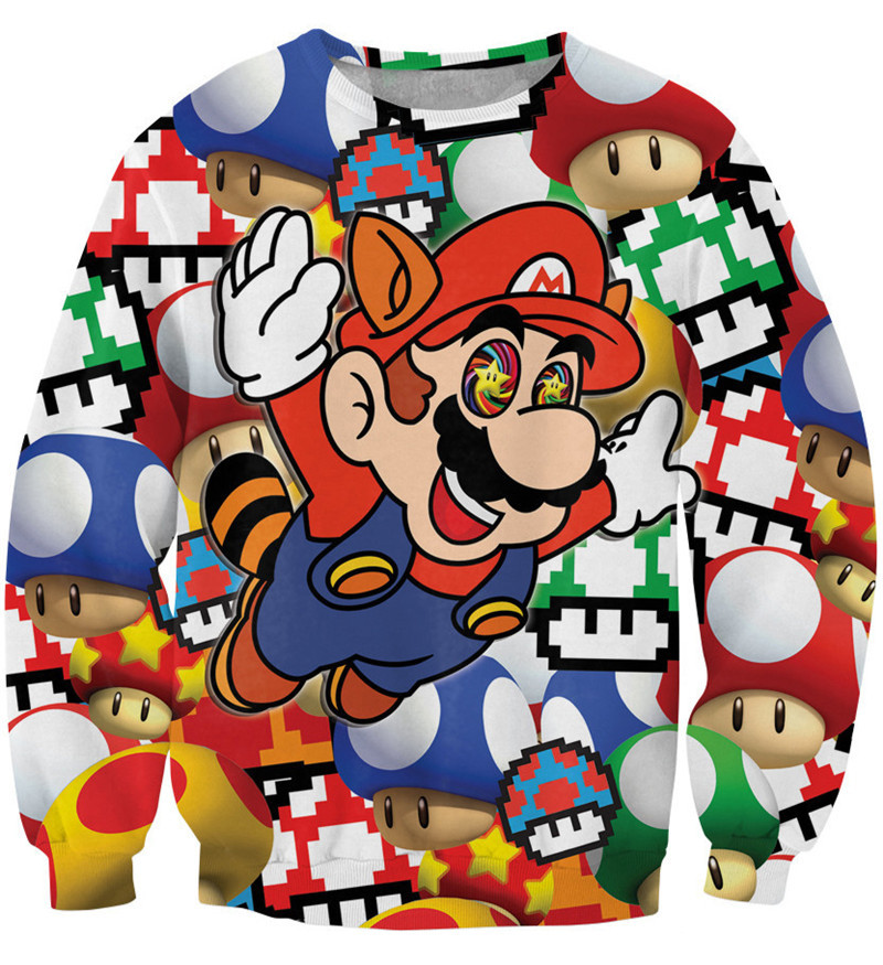 New Hot Sale Women Cartoon Sweatshirt 3D Cute Pullover Hoodies Mario Animation Sports Clothing Stores Sudaderas Mujer SM6ST037(China (Mainland))