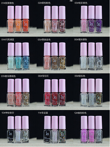 New 12set(3pcs/set)/lot SD colorful nail polish magical three-color gradient color nail polish cocktail lasting bright colors(China (Mainland))