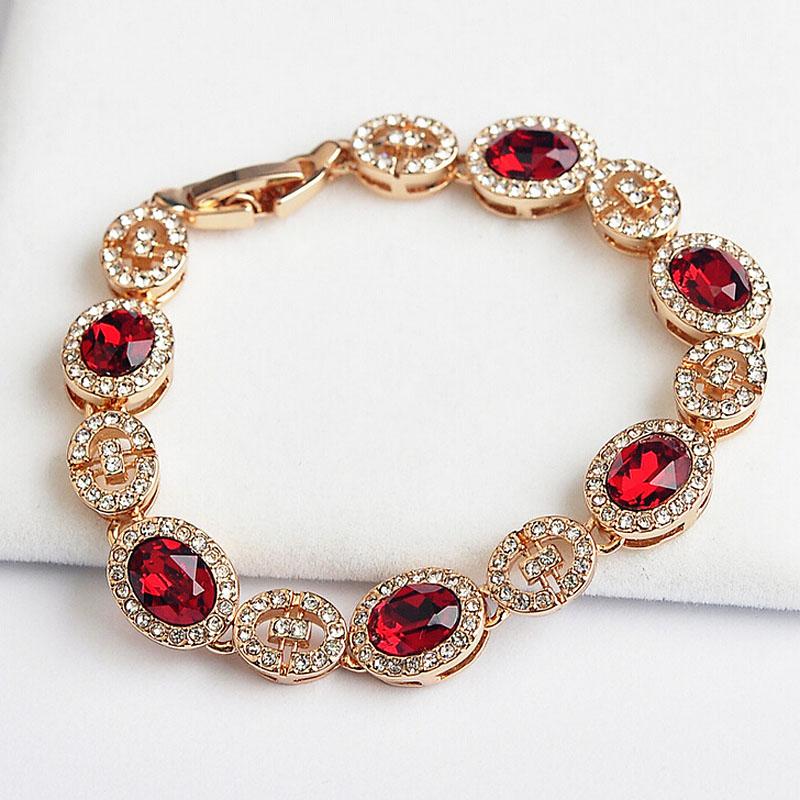 Italina 18K Gold Plated Luxury Vintage  100% Austrian Crystals Bracelets Women Bijoux