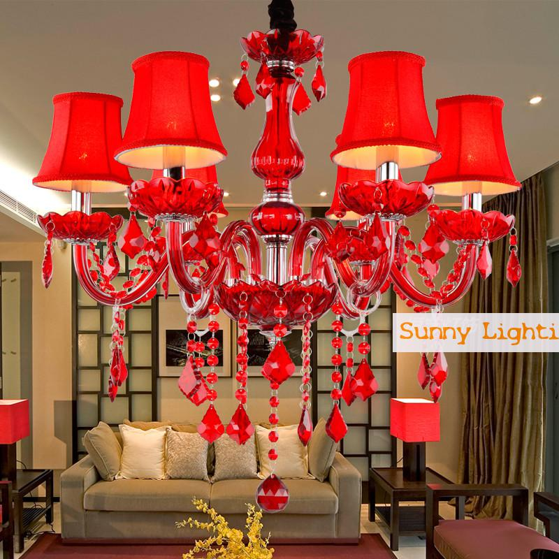 6/8 heads Chinese Wedding lighting red crystal lamp chandelier Crystal hanging Lamp Red shades Coffee shop Bedroom bar light Led(China (Mainland))