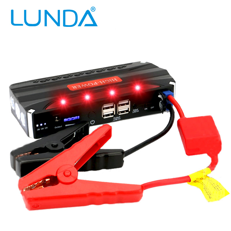 LUNDA High power 4USB 2.0A Output Multi-function Portable Rechargeable Charger 12V Car Battery Jump Starter Booster(China (Mainland))