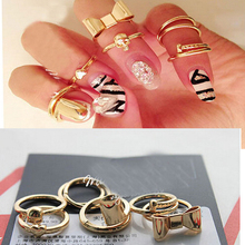 New 7Pcs Heart Bowknot Skull Simple Band Midi Mid Nail Finger Top Stacking punk Ring Set for Women wholesale