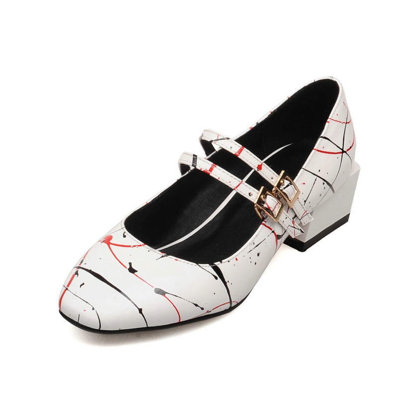 New Graffiti Square Toe Mary Janes Women Pumps Square Mid Heels Patent Leather Ankle Party Spring/Summer Girls Shoes Size 34-43