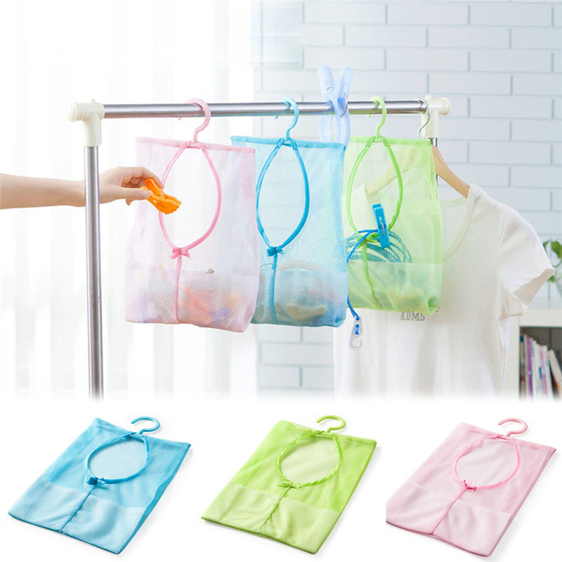 2016 Kitchen Bathroom Clothesline Storage Dry Doll Pillow Shelf Mesh Bag with hook hanging pendant bags drop shipping on sale(China (Mainland))