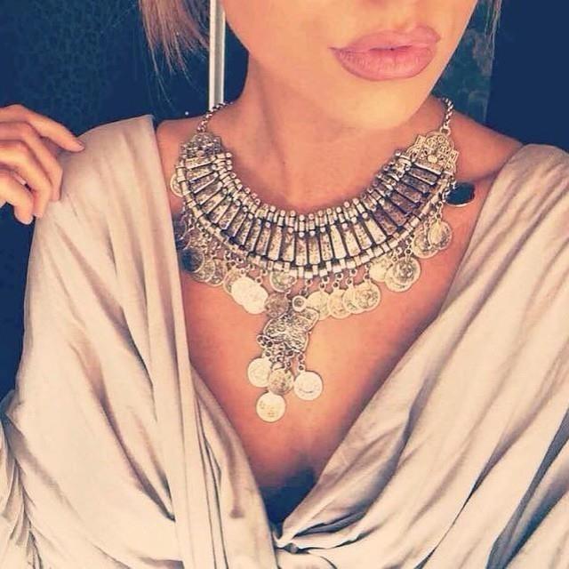 2015 tassel long Chain Silver Coin Bib Choker Collar fashion Women Vintage statement necklace & pendants Retro women jewelry(China (Mainland))