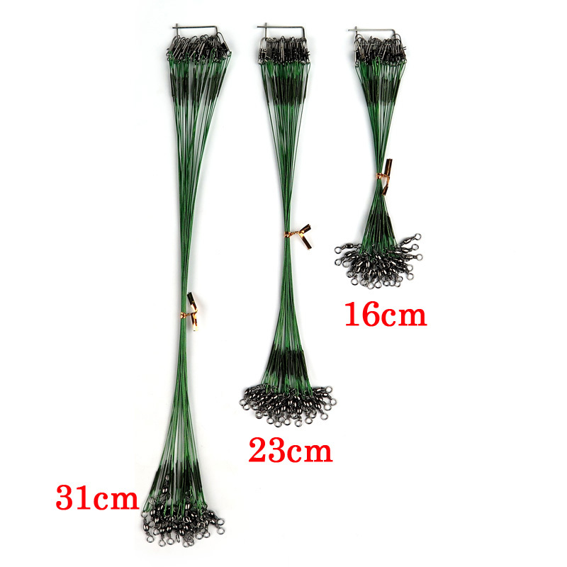72Pcs the line 16cm/23cm/31cm black/green/silver fishing leader with Swivel Stainless Steel wire leader Shark Spinning Expert(China (Mainland))