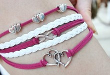 Vintage Silver Alloy Double Heart infinity 8 Leather Charms Good Luck Bracelet &Bangle For Women Dress Jewelry DIY 10pcs Z1433(China (Mainland))