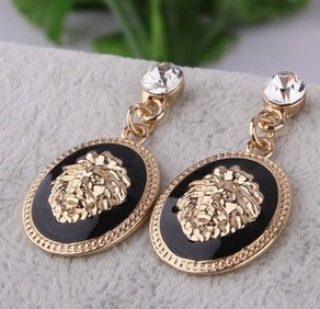 2015 New HOT !!! New Fashion Designer Brand Black Enamel Exaggerated Rhinestone Lion Head Earrings For Women Brincos XY-E170(China (Mainland))