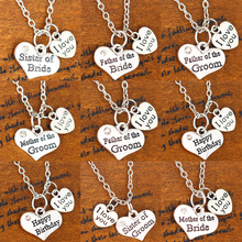 Buy Crystal Heart Silver Plated Love Pendant Necklace Family Wedding Party Mom Sister Father Jewelry Charm Chain Necklaces New for $1.39 in AliExpress store