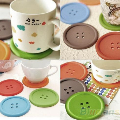 5Pcs Cute Colorful Silicone Button Coaster Cup Cushion Holder Drink Placemat Mat Home 083Q(China (Mainland))