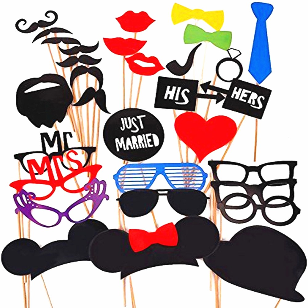 Photo Booth Props Wedding Party Decorations Set of 34PCS Wedding Party Favor Accessories Event & Party Supplies 2017 Photo booth(China (Mainland))