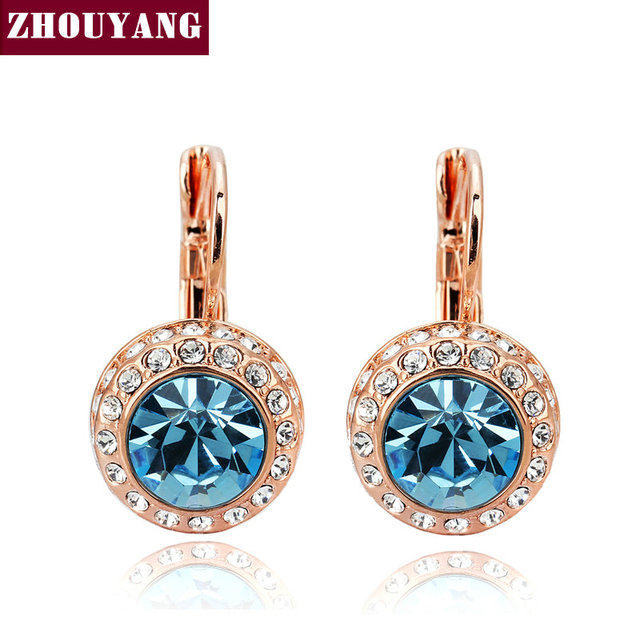ZHOUYANG Top Quality Blue Moon River  Rose Gold Plated Drop Earrings Genuine  Austrian Crystal Wholesale ZYE074