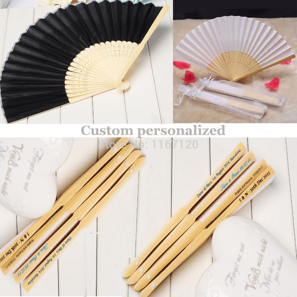 200pcs custom personalized Name and Date Elegant Folding silk Fabric Hand Fan 21cm wedding party Decor(China (Mainland))