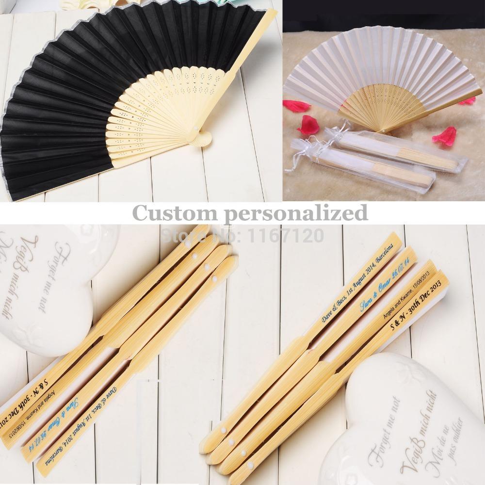 200pcs custom personalized Name and Date Elegant Folding silk Fabric Hand Fan 21cm wedding party Decor(China (Mainland))