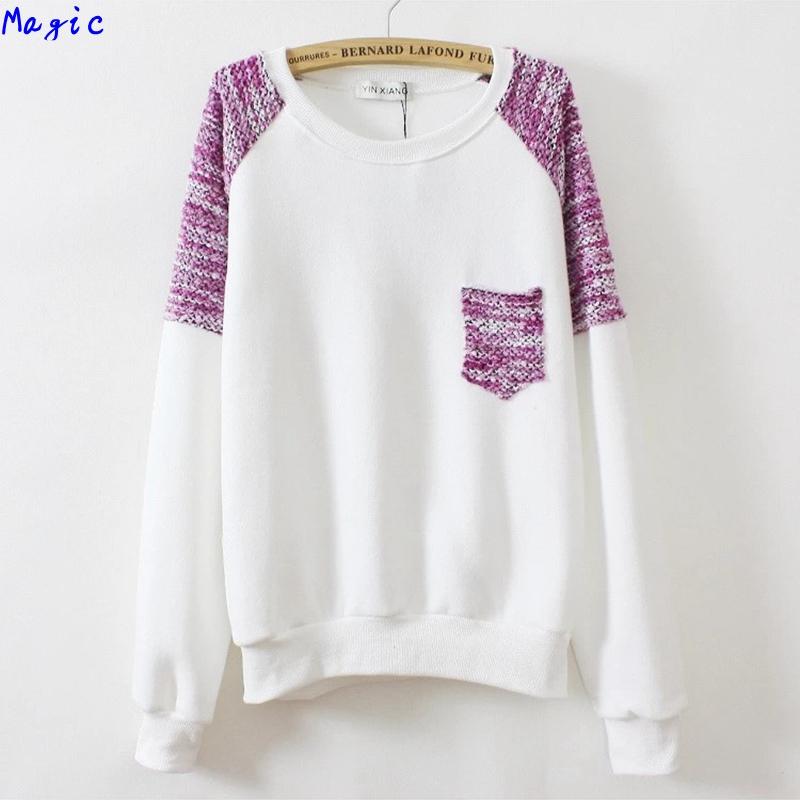 [Magic] 2014 fashion hoodies knitted sleeve pocket sweatshirts fleece inside women cotton sweatshirt 3 colors - magic clothing store