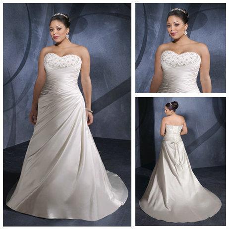 Free ShippingIvory Satin Sweetheart Best Selling Wholesale Informal Plus Size Wedding Dresses(China (Mainland))