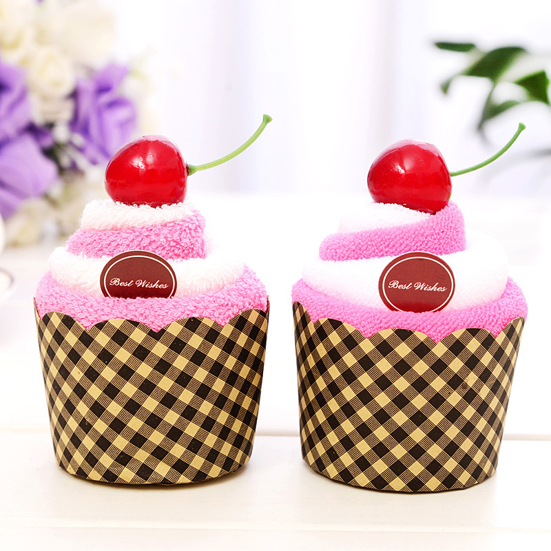 Cherry cupcake Wedding Favor business promotional birthday gifts face cake towel Superfine fiber Wedding gifts for guests(China (Mainland))