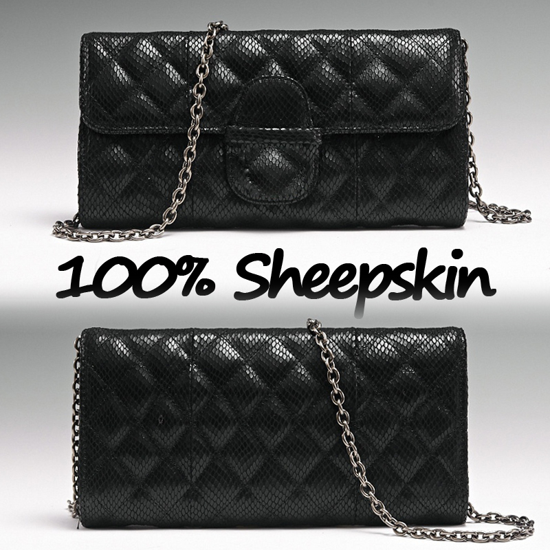 VIP Queen 100% Sheepskin women leather Handbag CC Brand Flap Genuine leather women bag 2015(China (Mainland))
