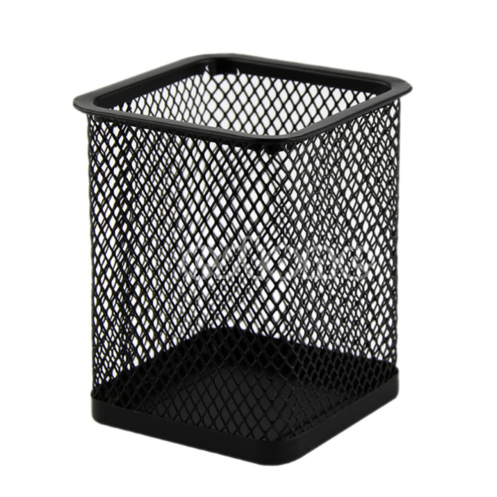 New Arrive Black Rectangular Mesh Style Pen Pencil Holder Office Desk Organizer Container(China (Mainland))