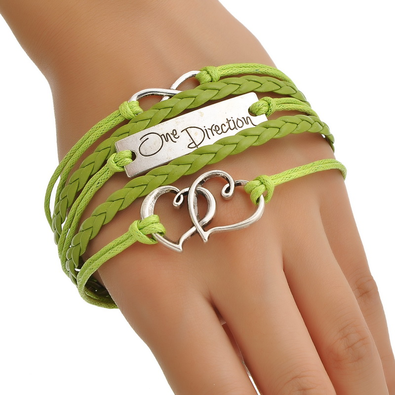 "Wax Rope Braiding Bracelets Grass Green Antique Silver Double Hearts Infinity Symbol Findings""One Direction""17.5cm 2015 new(China (Mainland))"