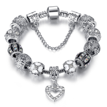 Fashion 925 Antique Silver Heart Charm bracelet for Women DIY Crystal Beads Fit Original Bracelets Pulseira Jewelry Gift  PS3145(China (Mainland))