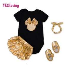 2017 Baby Girl Clothes 4pcs Clothing Sets Black Cotton Rompers Golden Ruffle Bloomers Shorts Shoes Headband Newborn Clothes(China (Mainland))
