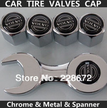 Free Shipping Metal Chrome Volvo Badge Wheel Tire Valve Caps Volvo Sticker Tyre Valve Dust Cap