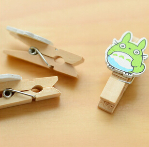 Kawaii Totoro Cartoon Wooden Paper Clips