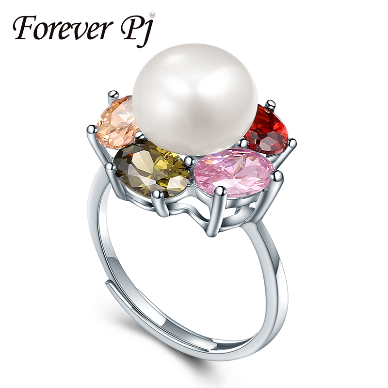 2016 New Colorful Ruby Zirconia Diamond Wedding Rings 925 Sterling Silver Jewelry Natural Big Pearl Adjustable Rings For Women(China (Mainland))