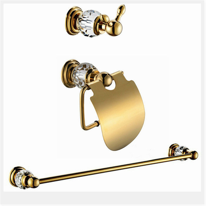 Free shipping crystal & brass bath hardware sets Robe hook,Paper Holder,Towel Bar,3 pcs/set CY00K bath faucet torneira banheiro(China (Mainland))
