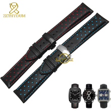 Genuine leather watchband charm leather bracelet sport watch strap 20 22mm mens wristwatches band belts black blue red stitched(China (Mainland))