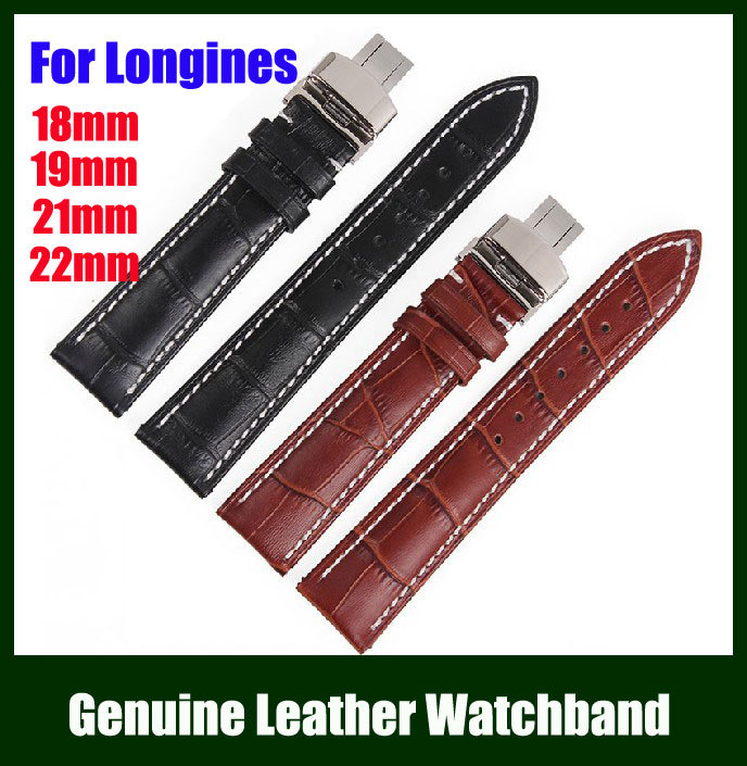 Free Shipping High Grade 18mm 19mm 20mm 21mm 22mm Genuine Leather Watch Band Strap Bracelet for Longines ZL_HDKBX(China (Mainland))