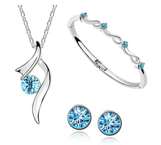 Charm Waterdrop Jewelry Set Point Star Sets Necklace/Earrings/Bracelet Women Christmas Gifts W - cheap jewelry factory store