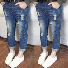 Hot selling!2015 Children's Clothing Girls All-match Hole Jeans Children Casual Skinny Pants (China (Mainland))