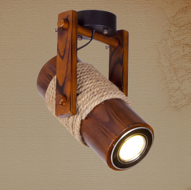 American Country Aisle Balcony Ceiling Lamp Creative Vintage Restaurant Bar Rope LED Wood Ceiling Light Free Shipping(China (Mainland))