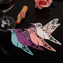 #Cu3 New Fashion 50PCS Creative Bird Paper Wine Glass Place Card Wedding Party Decoration(China (Mainland))