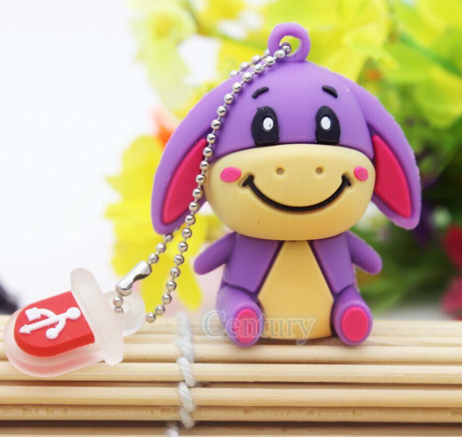 Free shipping Cartoon hot silicon cute animal donkey usb disk 8gb USB flash drive 32 gb memory stick U disk 100% real capacity(China (Mainland))