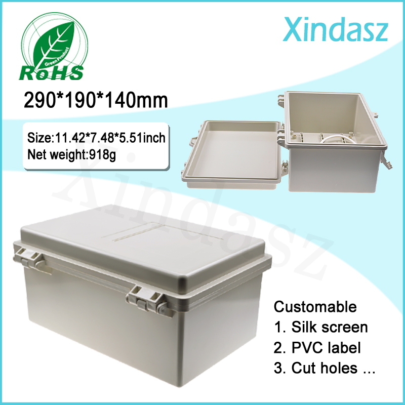 (XD-F52)290*190*140mm hinged plastic enclosures project boxes plastic electrical enclosures(China (Mainland))