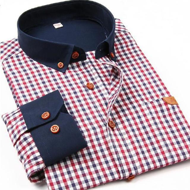 Известный бренд 2015 мужские рубашки мужчины мода с длинным рукавом клетчатой рубашке ...