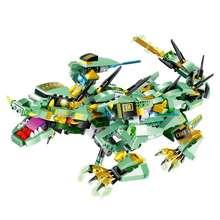 MoFun Batalha Dragão DIY 2.4G 4CH RC Controle Infravermelho Robô Montado Bloco de Construção Crianças Brinquedos Robô Preto Verde Azul vermelho(China)