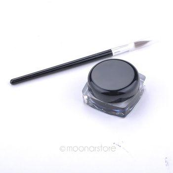Free Shipping Waterproof Eyeliner, Black Eyeliner Gel Makeup Cosmetic + Eye Liner Brush Pen Makeup Set Accessories Y55*MHM541#S7